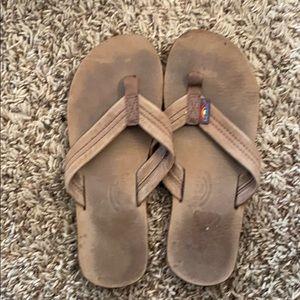 Rainbow 🌈 flip flops size 6 brown